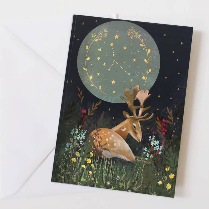 Deer and moon card- glitter and earth