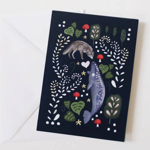 Wolf and humpback whale card- glitter and earth