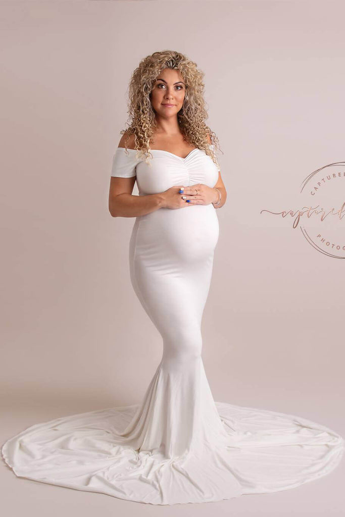 Abelia Maternity Dress White