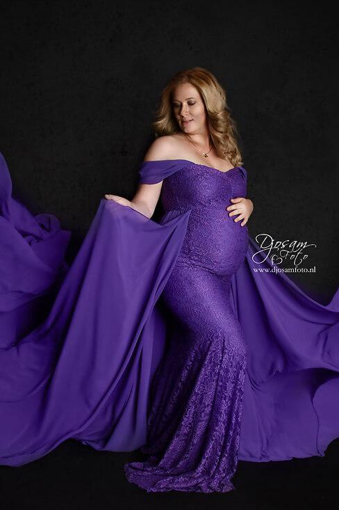 Papoula Maternity Dress Purple - Mii-Estilo.com
