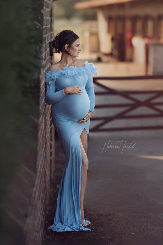 Periwinkle Maternity Dress Light Blue - Mii-Estilo.com