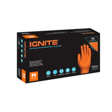 IGNITE® Nitrile Gloves Orange Heavy Duty (Medium) (Non Latex)  Exam, Powder Free, Raised Goose-Bump Diamond Texture (7mm Thickness) Case of 1000 - (10pk of 100 Gloves/Box)
