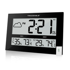 Thermometer, Clock with Remote Sensor, GIANT-DIGITS Radio Atomic Traceable