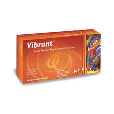 VIBRANT® Latex Gloves, (Small) Exam, Powder Free, Chlorinated, Micro Textured (100 Gloves/Box)