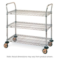 "MW Series Utility Cart with 3 Chrome Wire Shelves, 21"" x 36"" x 39"""