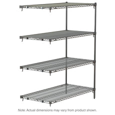 "Super Adjustable Super Erecta 4-Tier Add-On Unit, Chrome, 18"" x 48"" x 63"""
