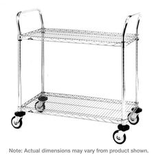 "MW Series Utility Cart with 2 Stainless Steel Wire Shelves, 21"" x 36"" x 39"""