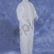 Tians Coveralls, White Heavy Polypro, Collar,  No Elastic, MED, 25/Cs - 217880-M