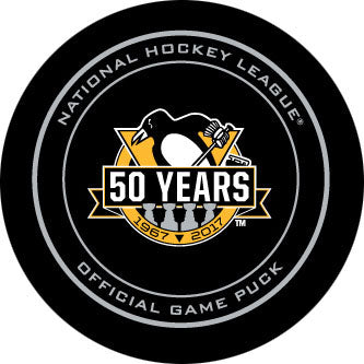 2016-17 Pittsburgh Penguins 50th Anniversary Official Game Model Puck