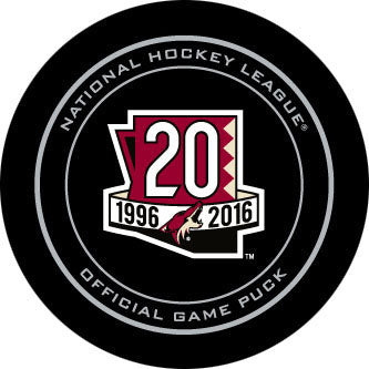 2016-17 Arizona Coyotes 20th Anniversary Official Game Model Puck