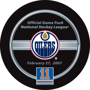 Mark Messier Jersey Retirement Night Official Game Puck
