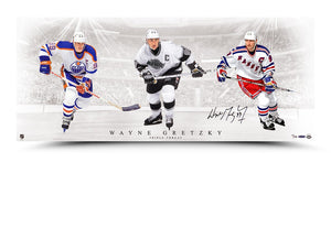 Wayne Gretzky Autographed 'Triple Threat' 36X15 Picture - UDA