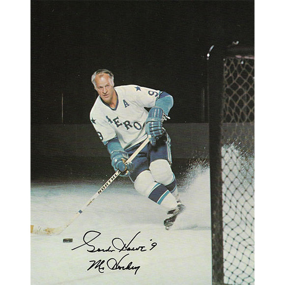 Gordie Howe Autographed 8X10.5 Photo (Houston Aeros)