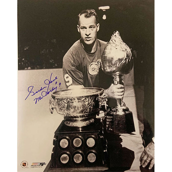 Gordie Howe Autographed 11X14 Photo (w/Hart & Art Ross Trophies)