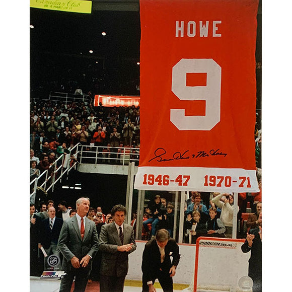 Gordie Howe Autographed 16X20 Photo (w/Mike Illitch at #9 Banner Raising)
