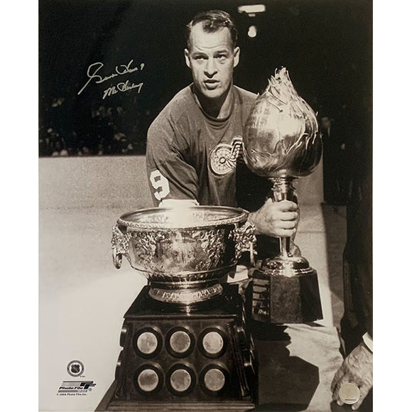 Gordie Howe Autographed 16X20 Photo (w/Hart & Art Ross Trophies)