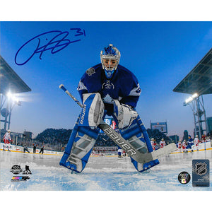 Frederik Andersen Autographed Toronto Maple Leafs 8X10 Photo (Centennial Classic)