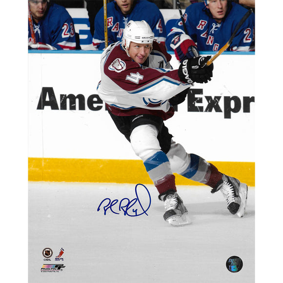 Rob Blake Autographed Colorado Avalanche 8X10 Photo (Shooting)