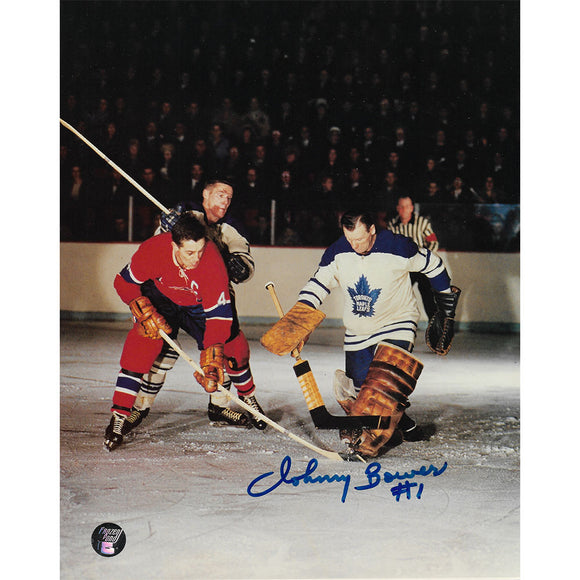 Johnny Bower (deceased) Autographed Toronto Maple Leafs 8X10 Photo (w/Beliveau)