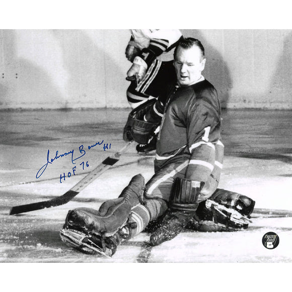 Johnny Bower (deceased) Autographed Toronto Maple Leafs 8X10 Photo (B+W)