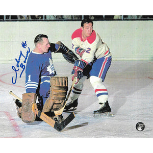 Johnny Bower (deceased) Autographed Toronto Maple Leafs 8X10 Photo (vs. Montreal)
