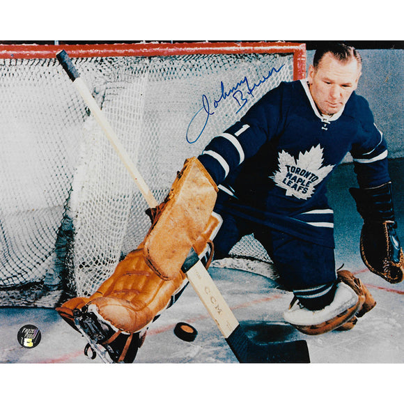 Johnny Bower (deceased) Autographed Toronto Maple Leafs 8X10 Photo (Kick Save)
