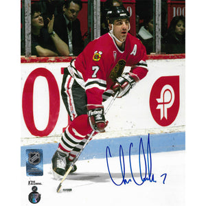 Chris Chelios Autographed Chicago Blackhawks 8X10 Photo