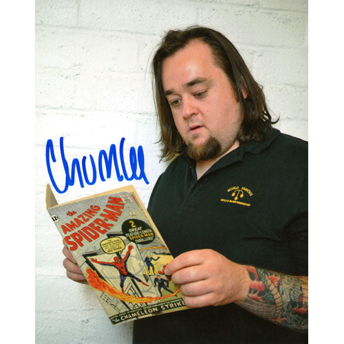 Chumlee Autographed Pawn Stars 8X10 Photo (Spiderman Comic)