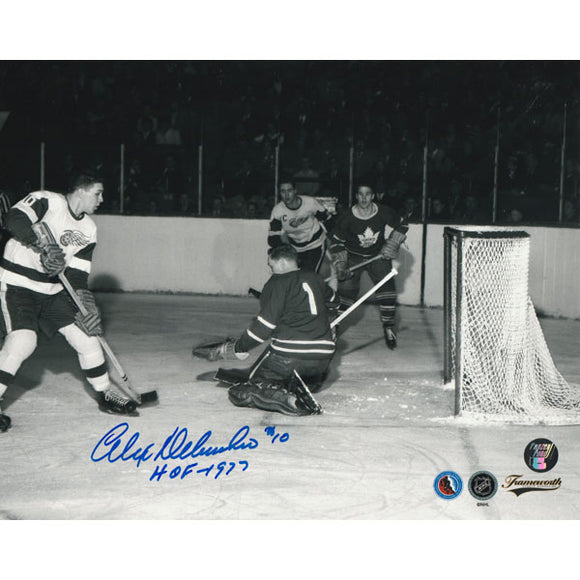Alex Delvecchio Autographed Detroit Red Wings 8X10 Photo (vs. Leafs)