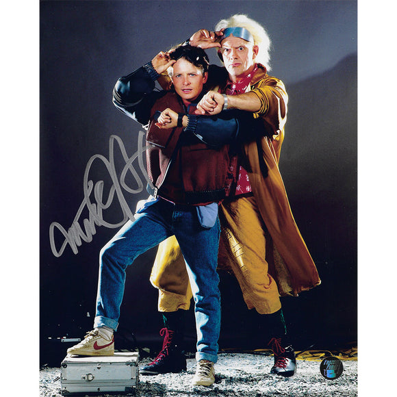 Michael J. Fox Autographed 'Back to the Future' 8X10 Photo (w/Lloyd)