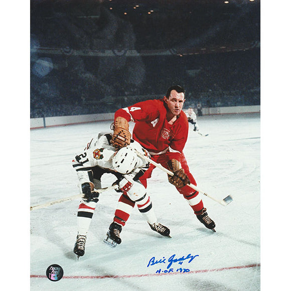 Bill Gadsby (deceased) Autographed Detroit Red Wings 8X10 Photo (vs. Chicago)