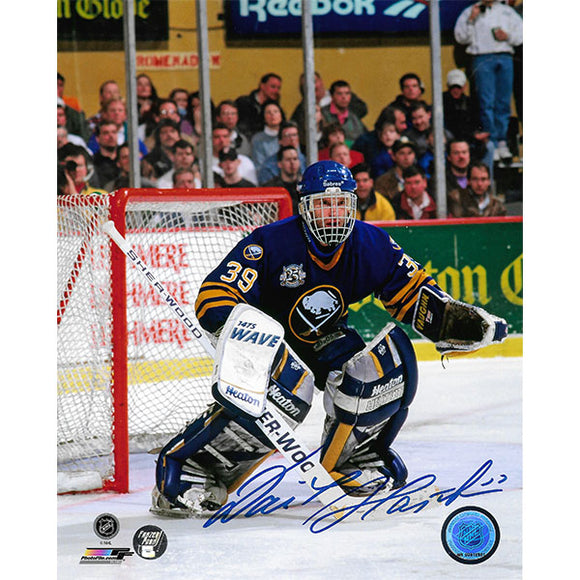Dominik Hasek Autographed Buffalo Sabres 8X10 Photo (Blue Jersey)
