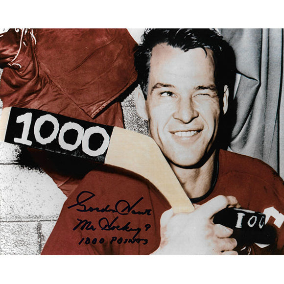 Gordie Howe Autographed 8X10 Photo (1000th Point)