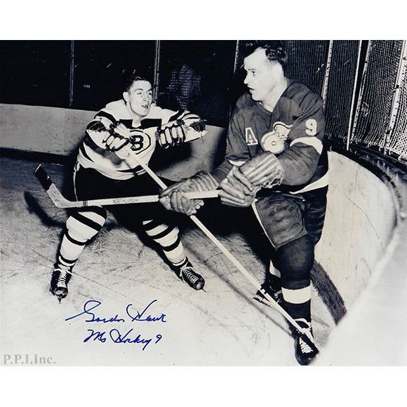 Gordie Howe Autographed 8X10 Photo (vs. Boston)