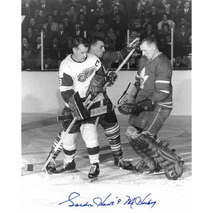 Gordie Howe Autographed Detroit Red Wings 8X10 Photo (w/Johnny Bower)