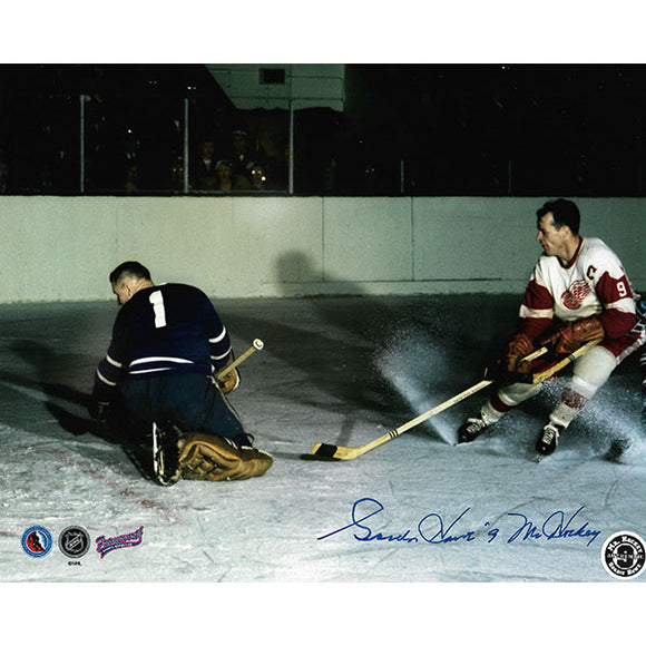 Gordie Howe Autographed 8X10 Photo (Scoring on Bower)