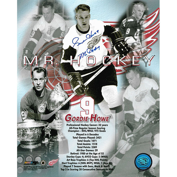 Gordie Howe Autographed 8X10 Photo (Mr. Hockey Collage)