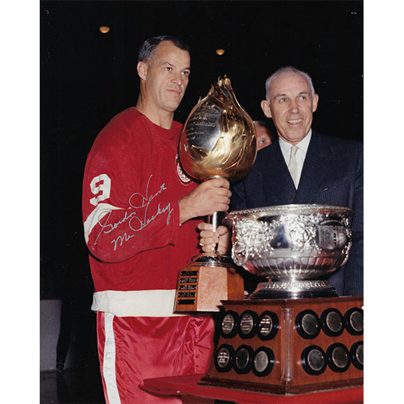 Gordie Howe Autographed Detroit Red Wings 8X10 Photo (Color w/Trophies)