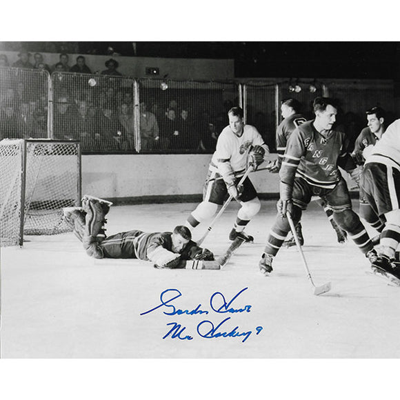 Gordie Howe Autographed 8X10 Photo (vs. NY Rangers)