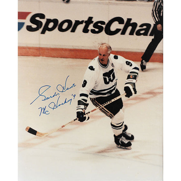 Gordie Howe Autographed 8X10 Photo (Whalers Centre Ice)