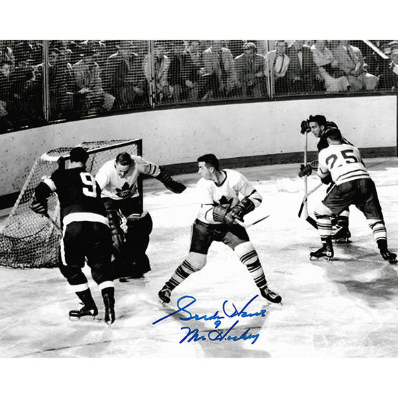 Gordie Howe Autographed 8X10 Photo (vs. Toronto B+W)