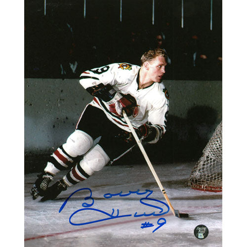 Bobby Hull Autographed Chicago Blackhawks 8X10 Photo (White Jersey)