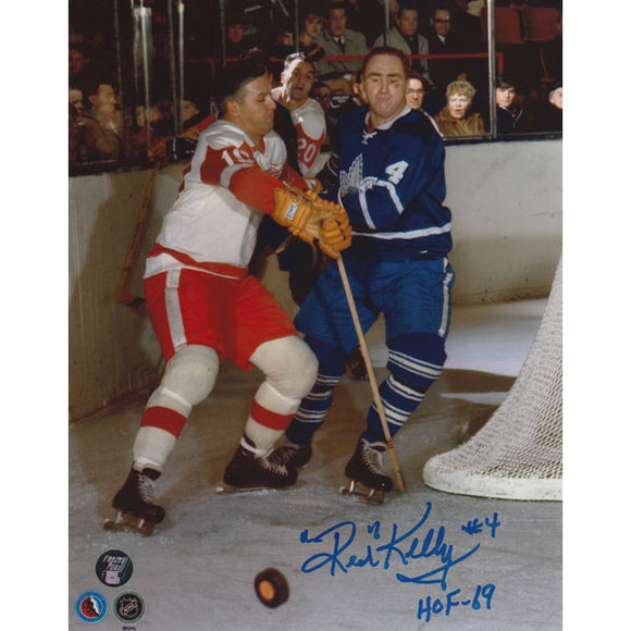 Red Kelly (deceased) Autographed Toronto Maple Leafs 8X10 Photo (vs. Detroit)