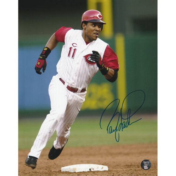 Barry Larkin Autographed Cincinatti Reds 8X10 Photo (Rounding Base)