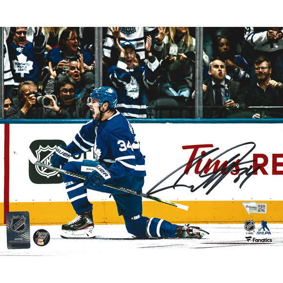 Auston Matthews Autographed Toronto Maple Leafs 8X10 Photo (Celebration)
