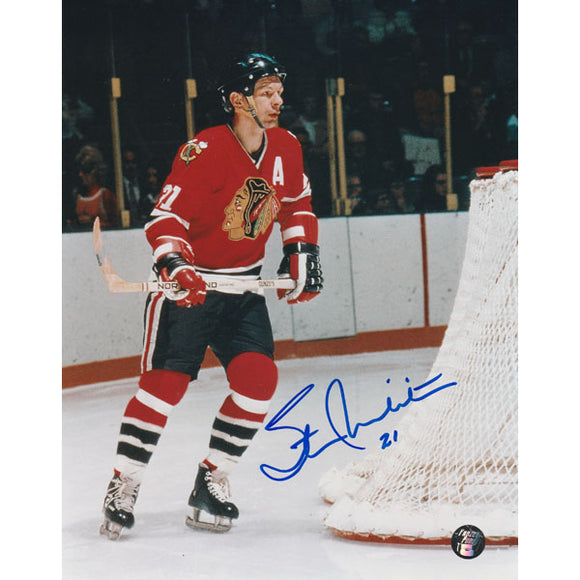 Stan Mikita (deceased) Autographed Chicago Blackhawks 8X10 Photo (Red Jersey)