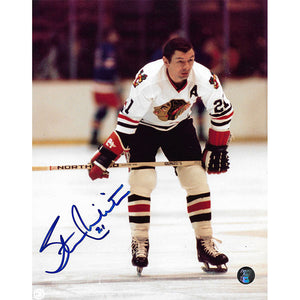 Stan Mikita (deceased) Autographed Chicago Blackhawks 8X10 Photo (White Jersey)