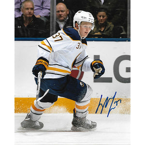 Casey Mittelstadt Autographed Buffalo Sabres 8X10 Photo (White Jersey)