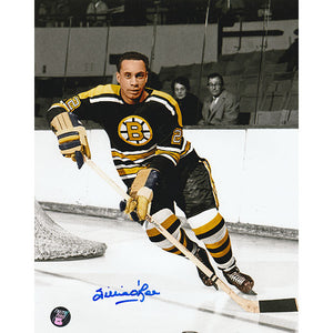 Willie O'Ree Autographed Boston Bruins 8X10 Photo (Colorized)