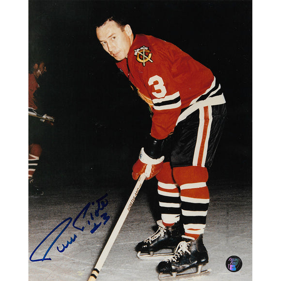 Pierre Pilote (deceased) Autographed Chicago Blackhawks 8X10 Photo (Blue Sharpie)